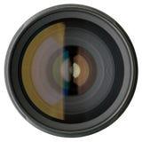 Kameraobjektiv getrennt auf Weiß Stockbilder