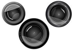 Kameraobjektiv mit 3 Objektiven Stockfoto