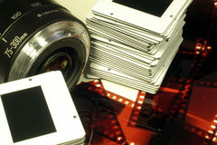 Kameraobjektiv, Plättchen u. Film Lizenzfreies Stockbild