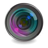 Kameraobjektiv. Weißer Hintergrund Stockfotos