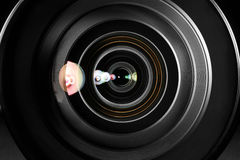 Kameraobjektivabschluß oben Lizenzfreie Stockfotos