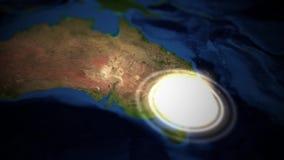 Kamerapannor över Australien med kärn- tryckvåg - Sydney version royaltyfri illustrationer