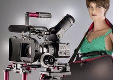 Kamerarecorderfilmschießen- und -Videoproduktionsanfang im Filmtechnikstudio lizenzfreie abbildung