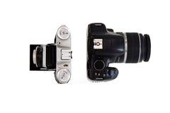 Kameras - alt und neu Lizenzfreie Stockfotos