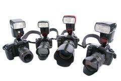 Kameras mit Blinken Stockbild
