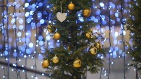 KamerashowX-träd som dekoreras med den guldbollar och hjorten stock video
