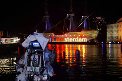 Kameraskott på det gamla skeppet Amsterdam arkivfoto