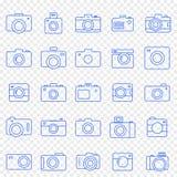 Kamerasymbolsuppsättning 25 vektorsymboler packar royaltyfria bilder