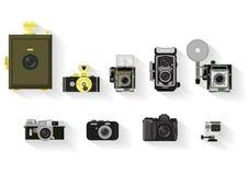 Kamerauppsättning plan grafisk historia av kameran stock illustrationer