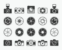 Kameraverschluss, Linsen und Fotokameraikonen Lizenzfreie Stockfotografie