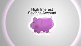 Kamerawannen durch Sparschwein für Finanzkonzept - hohe Interessen-Sparkontotypographie lizenzfreie abbildung