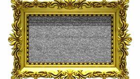 Kamerazoom in den Goldbilderrahmen auf weißem Hintergrund, Fernsehgeräusche, grüner Schirm lizenzfreie abbildung