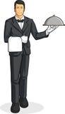 Kamerdynera lub Kelnera Porcja Taca Jedzenie royalty ilustracja