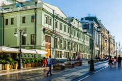 Kamergersky (Chamberlain's) lane of Moscow city and Chekhov thea Royalty Free Stock Photo