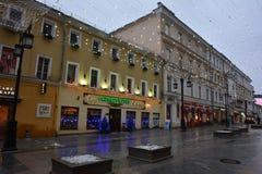 Kamergersky gränd (mitten av Moskva i Christmass) Royaltyfria Foton