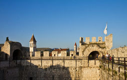 Kamerlengo castle in Trogir, view of the watch walk Royalty Free Stock Photo