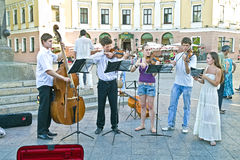 Kamermuziekensemble in de straat Stock Fotografie