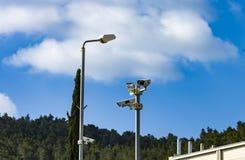 Kameror bevakning, idé för säkerhet Royaltyfri Fotografi