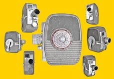 Kameror för tappning 8mm i retro orientering Arkivfoton
