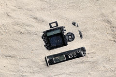 Kameror i sanden Fotografering för Bildbyråer