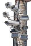 Kameror monteras på stolparna Royaltyfria Foton