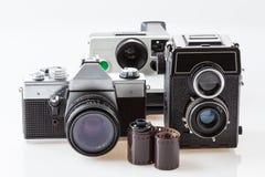 Kameror och filmrulle Arkivbilder
