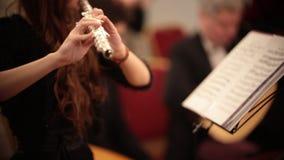 Kamerorkest Een jonge vrouw het spelen fluit stock videobeelden