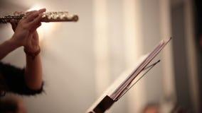 Kamerorkest Een jonge vrouw het spelen fluit door nota's stock videobeelden