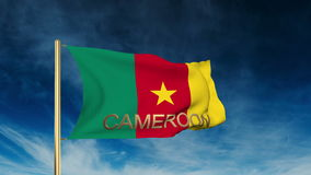 Kamerun-Flaggenschieberart mit Titel Herein wellenartig bewegen stock video footage