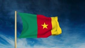 Kamerun-Flaggenschieberart Wellenartig bewegen in den Wind vektor abbildung