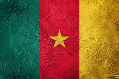 kamerun flagi crunch Cameroon flaga z grunge teksturą Fotografia Royalty Free