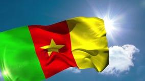 Kamerun-Staatsflagge, die in der Brise durchbrennt stock footage
