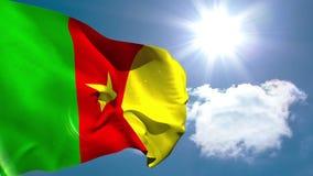 Kamerun-Staatsflaggewellenartig bewegen stock video footage