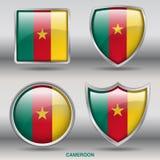 Kamerunflagga i samling för 4 former med den snabba banan Arkivbilder