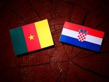 Kamerunflagga med den kroatiska flaggan på en trädstubbe Fotografering för Bildbyråer