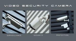 kamery bezpieczeństwe ochrona - kolaż z tekstem: Inwigilacja, ochrona i ochrona, zdjęcia stock