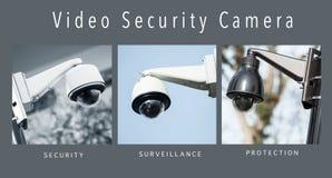 Kamery bezpieczeństwe ochrona - kolaż z tekstem zdjęcie royalty free