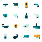Kamery Bezpieczeństwa ikony mieszkanie Zdjęcia Royalty Free