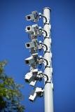Kamery bezpieczeństwa na słupie zdjęcie royalty free