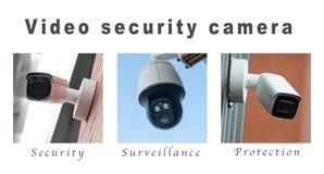 Kamery bezpieczeństwe ochrona - kolaż z tekstem zdjęcia stock