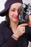 kamery ekranowego dziewczyny filmu starzy potomstwa Zdjęcie Royalty Free
