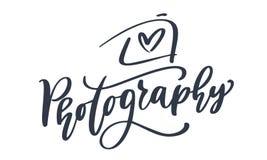 Kamery fotografii loga ikony wektorowego szablonu fotografii kaligraficzny wpisowy tekst Odizolowywający na białym tle Obraz Stock