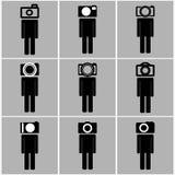 Kamery głowy mężczyzna ustawiają pojęcie pomysły Obrazy Royalty Free