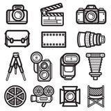 Kamery ikony czerń ilustracja wektor