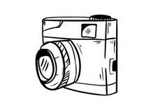 Kamery ikony wektor z doodle stylem zdjęcie stock