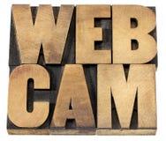 Kamery internetowej słowo w drewnianym typ Obrazy Stock