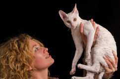 kamery kota dziewczyny mienia target3782_0_ Obraz Stock