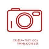 Kamery kreskowa ikona, kontur ilustracja, liniowy piktogram odizolowywający na szarość Ilustracja Wektor