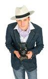 kamery mężczyzna retro stylowi potomstwa Obraz Royalty Free
