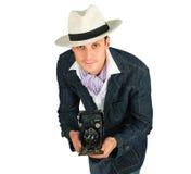 kamery mężczyzna retro stylowi potomstwa Obrazy Stock